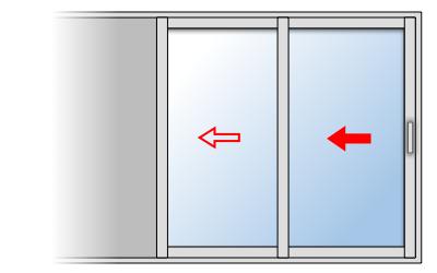 Zoom sur la fenêtre coulissante à galandage en aluminium